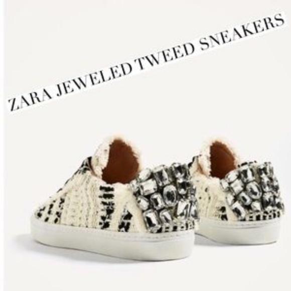Nwt Zara Jewelled Tweed Sneaker Sz 8